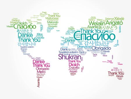 Illustration for Thank You in different languages word cloud in shape of World Map, concept background - Royalty Free Image