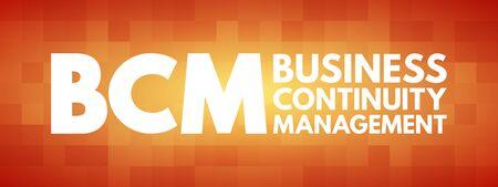 Illustration pour BCM - Business Continuity Management acronym, business concept background - image libre de droit