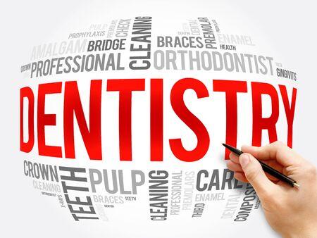 Photo pour Dentistry word cloud collage, health concept background - image libre de droit