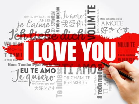 Photo pour love words I love you in all languages of the world, word cloud background - image libre de droit
