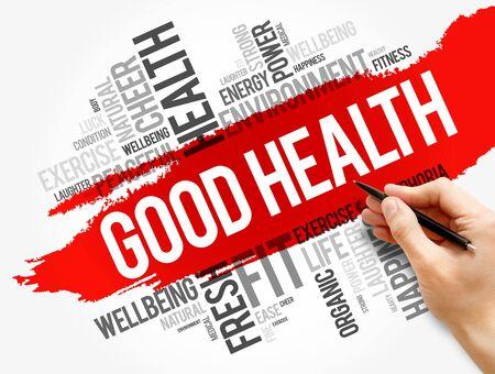 Foto de Good Health word cloud collage, health concept background - Imagen libre de derechos