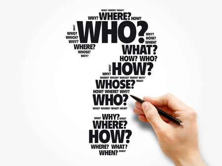Photo pour Question mark - Questions whose answers are considered basic in information gathering or problem solving, word cloud background - image libre de droit