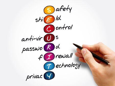 Foto de SECURITY - Safety, Shield, Control, Anti-virus, Password, Firewall, Technology, Privacy acronym, business concept background - Imagen libre de derechos