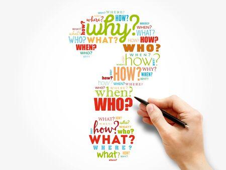Photo pour Question mark, Question words cloud concept background - image libre de droit