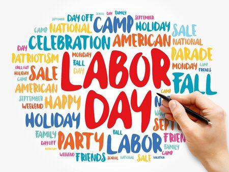 Photo pour Labor Day word cloud collage, holiday concept background - image libre de droit
