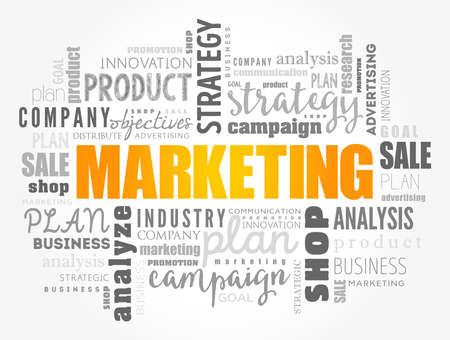 Illustration pour Marketing word cloud collage, business concept background - image libre de droit
