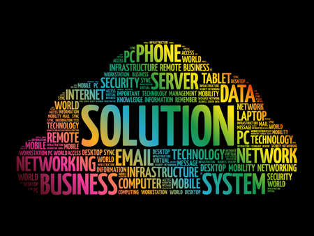 Illustration for Solution word cloud collage, technology business concept background - Royalty Free Image