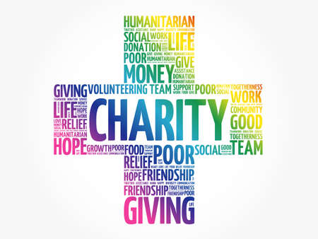 Illustration for Charity word cloud collage, business concept background - Royalty Free Image
