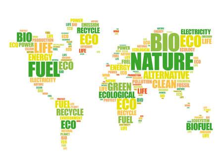 Illustration pour Ecology theme World Map in Typography word cloud, conceptual background - image libre de droit