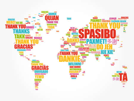 Illustration pour Thank You in many languages World Map in Typography word cloud, multilingual for education or thanksgiving day - image libre de droit