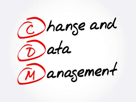 Illustration pour CDM - Change and Data Management acronym, business concept background - image libre de droit