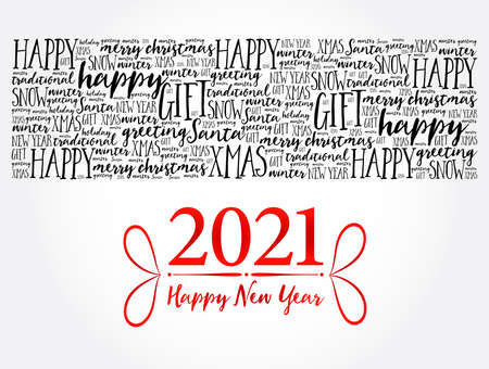 Illustration pour 2021 Happy New Year. Christmas background word cloud, holidays lettering collage - image libre de droit