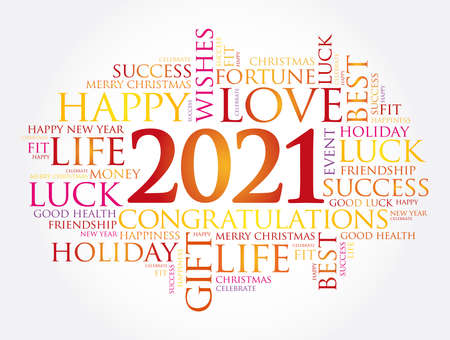 Illustration pour 2021 year greeting word cloud collage, Happy New Year celebration greeting card - image libre de droit
