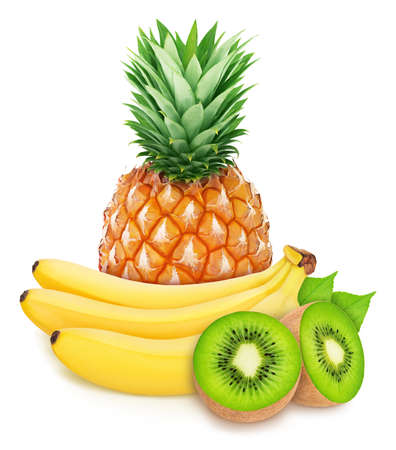 Photo pour Ccomposition with tropoc fruits: banana, kiwi and pineapple isolated on a white background. - image libre de droit