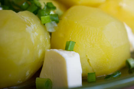 boiled potatoes with butter and fresh herbs