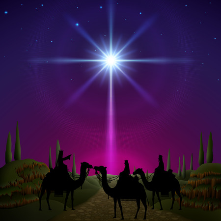 Three wise men follow the star of Bethlehem. EPS 10, contains trasparency, contains mesh.
