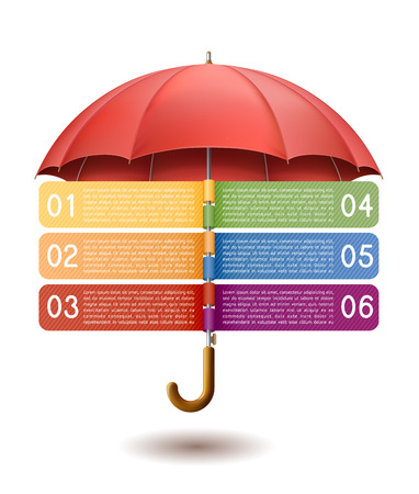 Modern infographics option banner with red umbrella EPS 10 contains transparency.