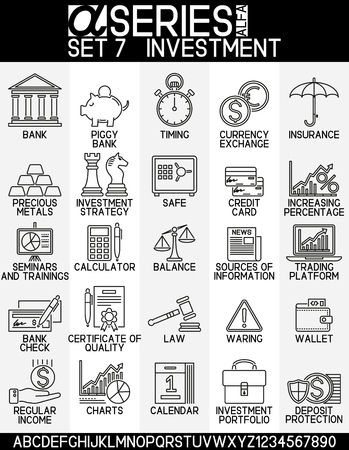 Set of icons business and investment