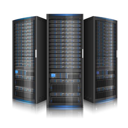Ilustración de Row of network servers, illustration of data center, or super computer, contains transparency - Imagen libre de derechos