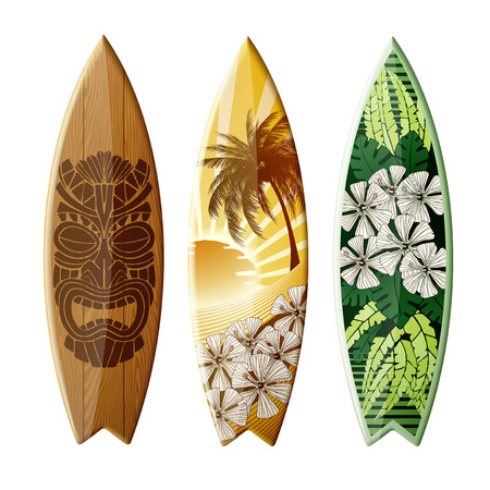 Illustration for Set of surfboards with original design, with color print, EPS 10 contains transparency. - Royalty Free Image