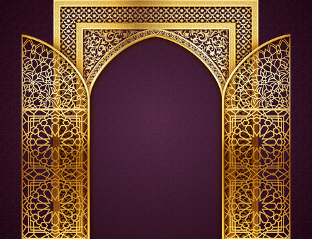 Illustration pour Ramadan background with golden arch, wit opened doors, with golden arabic pattern, background for holy month of muslim community Ramadan Kareem, EPS 10 contains transparency - image libre de droit