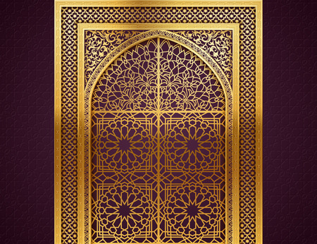 Illustration pour Ramadan background with golden arch, wit closed doors, with golden arabic pattern, background for holy month of muslim community Ramadan Kareem, EPS 10 contains transparency - image libre de droit