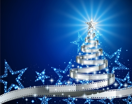 Illustration for Pine tree made of filmstrip, Christmas and New year background, illustration for holiday season, postcard on the theme of the movie, EPS 10 contains transparency. - Royalty Free Image