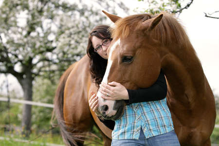 snuggling with a horse