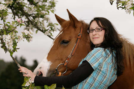 friendship with horse and young woman