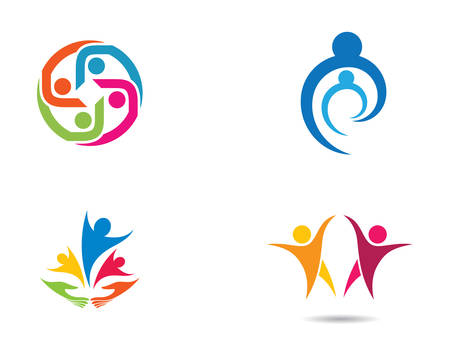 Illustration for Adoption and community care logo template vector icon illustration design - Royalty Free Image