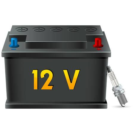car battery and spark plug