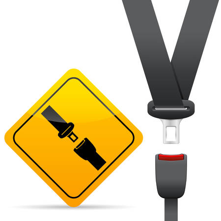 seat belt and warning sign
