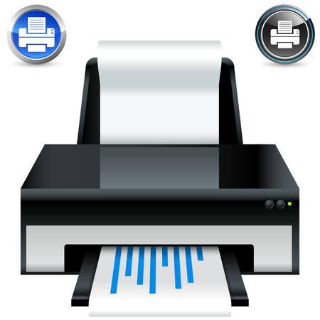 printer icon and button set