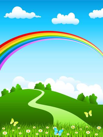 Illustration pour nature landscape with rainbow - image libre de droit