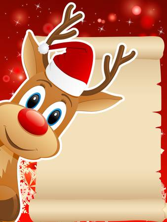 reindeer with Santa hat and Christmas background - vector illustration