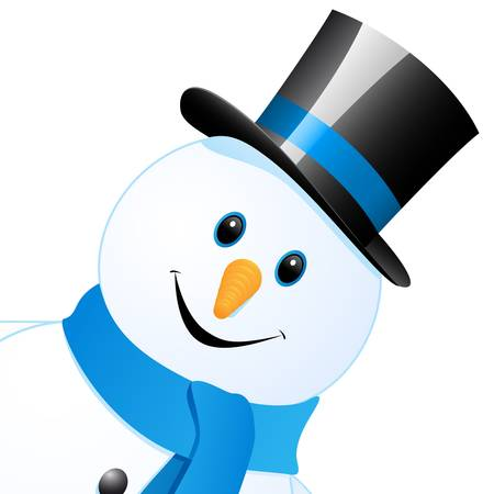 snow man with top hat