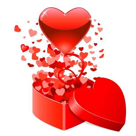 Ilustración de Gift box with flying hearts for Valentine s Day - Imagen libre de derechos
