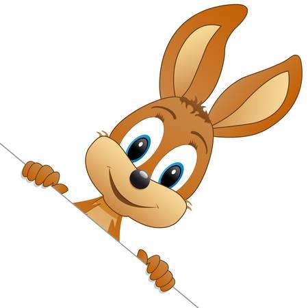 Ilustración de easter bunny in the corner - Imagen libre de derechos