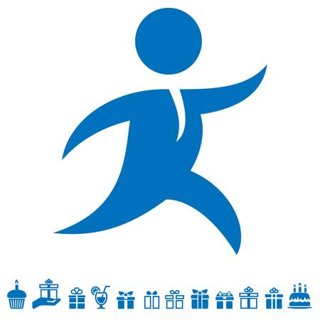 Illustration pour running man, courier and gift icons - image libre de droit