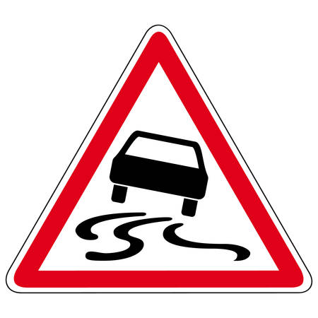 Illustration for slippery road - vector sign - Royalty Free Image