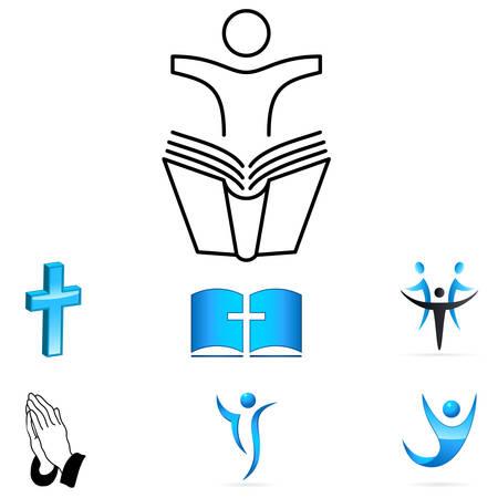 Foto de faith sign - vector icons - Imagen libre de derechos