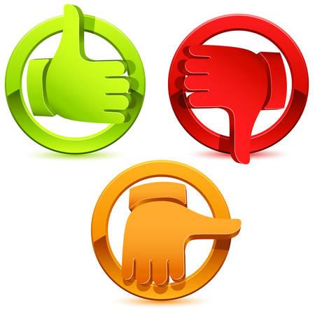 Illustrazione per thumbs icon set - illustration - Immagini Royalty Free