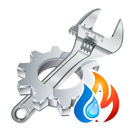 Illustration pour plumber icon with gear, adjustable wrench and fire/water symbol - image libre de droit