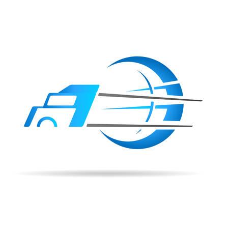 Illustration pour truck icon with globe - image libre de droit