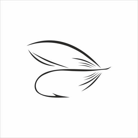 Abstract Fly-fishing in black color on white background