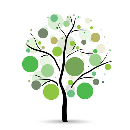 Multicolored circles tree on the white background