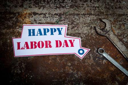 Photo pour Labor day sign on the rusty background - image libre de droit