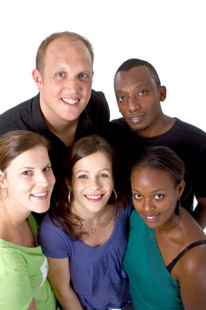 Fresh young group ofmultiracial people isolated over white.