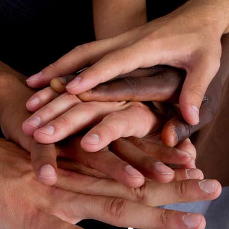 Foto de Series of various hands representing diversity.Lots of hands of different colors. - Imagen libre de derechos