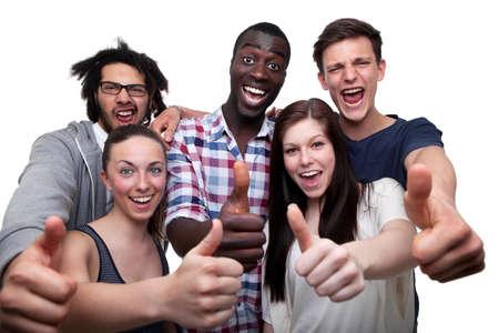 Photo pour Happy Friends Showing Thumb Up Sign On White Background  - image libre de droit
